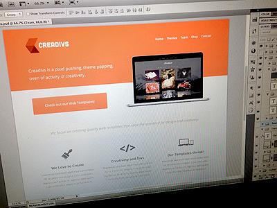 Home Page creadivs design web shot pic orange computer themes cool minimal clean photoshop smorrs new mockup