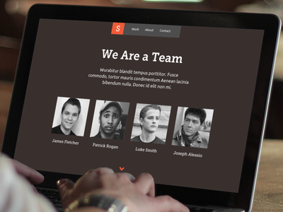 Smorrs Co - Team Page minimal clean smorrs web portfolio design responsive mockup wireframe alessio double rainbow fletcher header macbook mobile rogan smith joe what does this mean apple