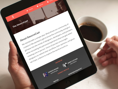 SmorrsCast Launched! coffee smorrs cast smorrscast s clean minimal web responsive ipad mini black about patrick james cool mockup