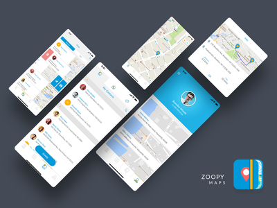 Zoopy Maps - iPhone App Presentation user interface mobile app ui design address book map book iphone application