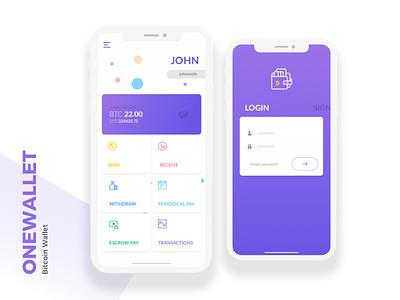 Onewallet - A Bitcoin Wallet crypto wallet mobile wallet mobile app user interface application ios app ui design