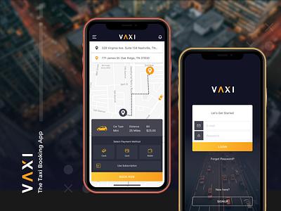 Vaxi - Taxi Booking App design user interface ui iphone application mobile app logo ios app ui design