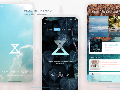 Declutter Your Mind - Your Guided Meditation application ui iphone application application design android app graphic design mobile app ui user interface ios app ui design