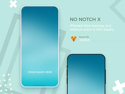 iPhone X Mockup - No notch & thin bazels phone design illustration mobile app minimal iphone x mockup download download for free mock ups