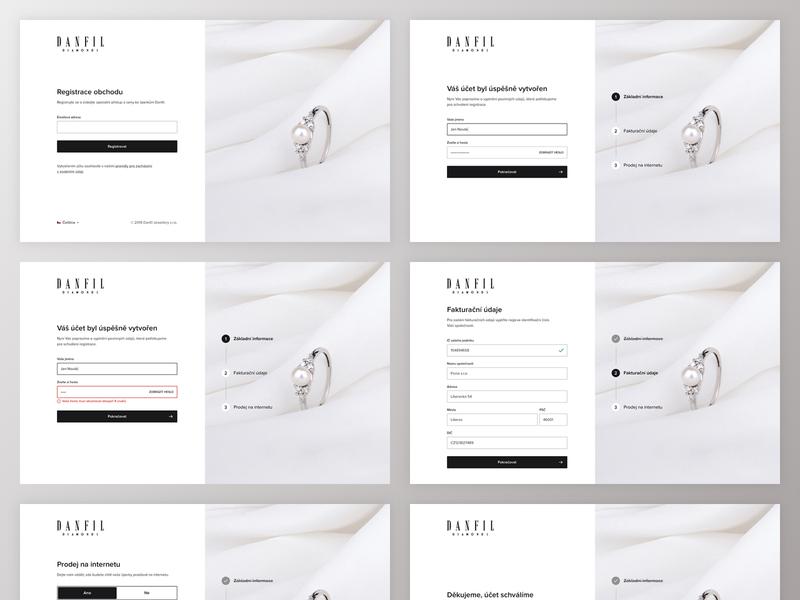 Registration proces account jewelery jewelry b2b registration form registration form process design website clean