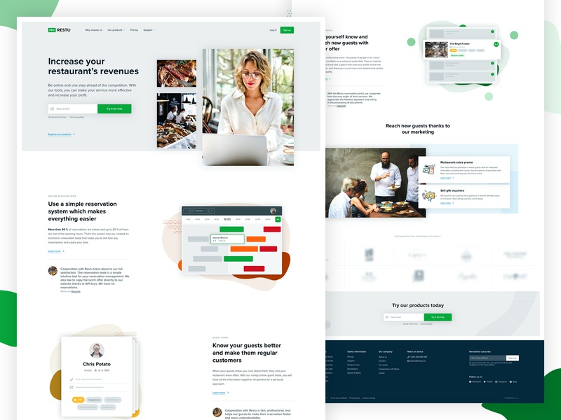Pro.restu website redesign brand landing responsive design page product design reservation manager table product microsite clean