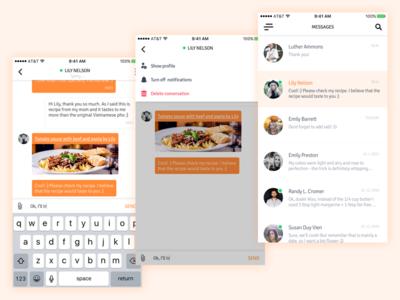 Messenger UI mobile user friends contact conversation ios app recipe cook ui chat messenger