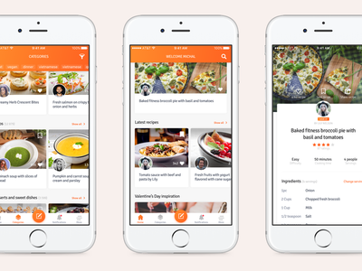Cookbook App meal recipes food cookbook social product navigation minimal app ios