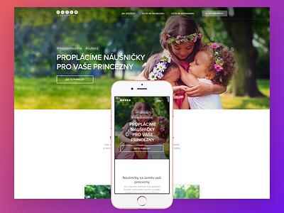 Cutie my princess branding landing website microsite layout page shop onepage responsive web