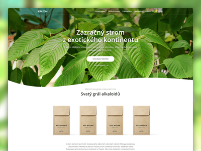 Kratom web green herbs store e-commerce shop medicine nature responsive clean homepage microsite landing