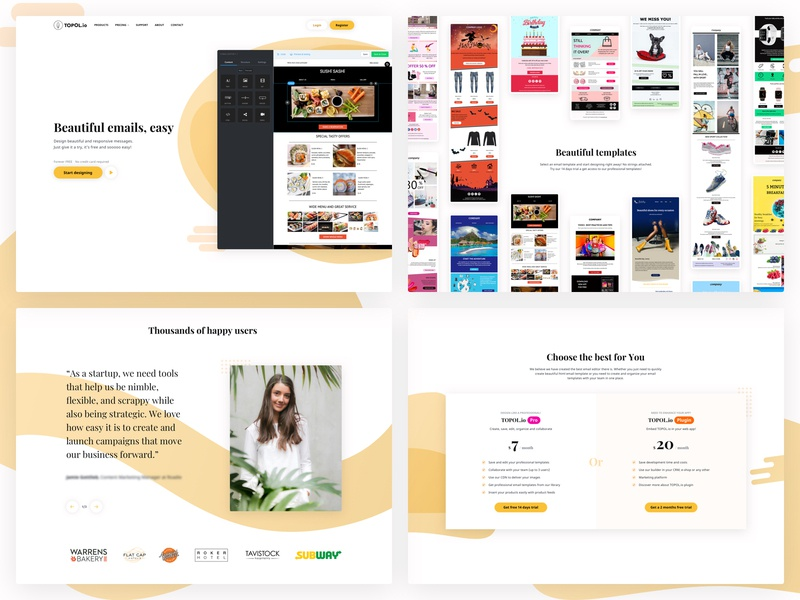 TOPOL.io - Landing page email campaign responsive clean homepage landing page drag and drop email email template web sass email marketing