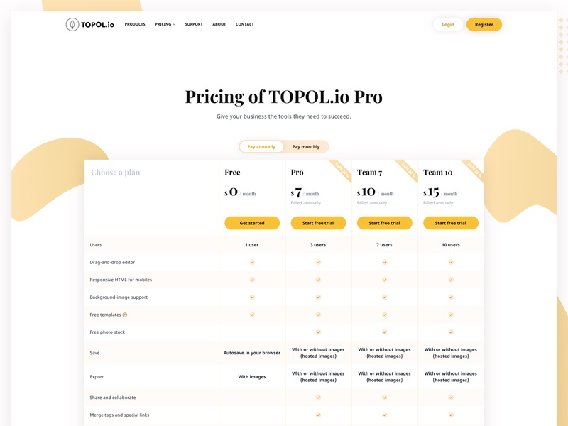 TOPOL io - Price list table email marketing sass web email template email drag and drop pricing table pricing page clean responsive email campaign