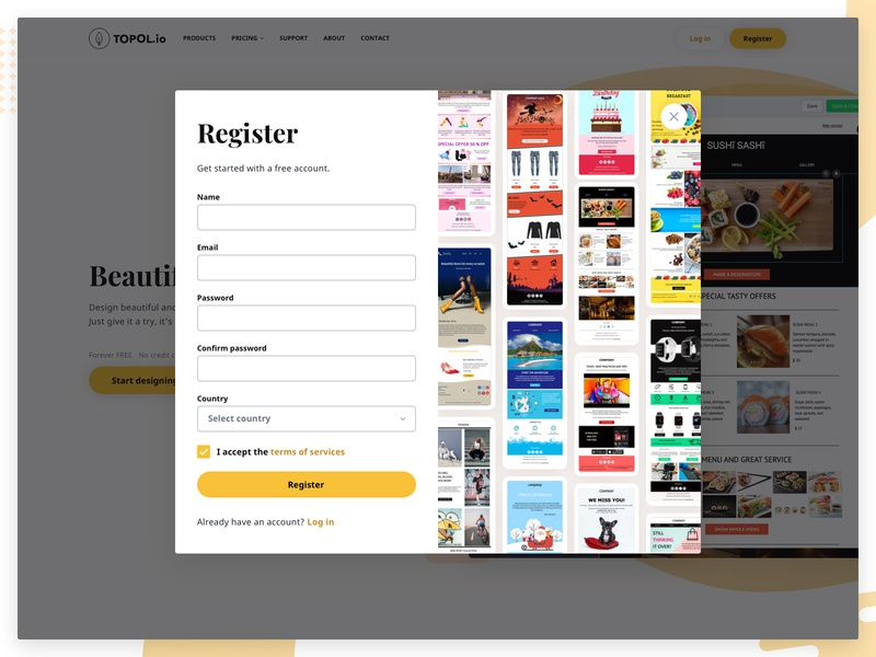 TOPOL io - Register & Login product microsite email campaign responsive clean drag and drop user account email email template responsive website sass email marketing wysiwyg plugin modal popup register login