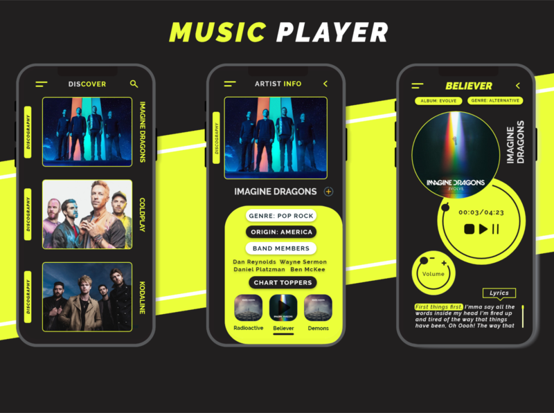Music Player app illustration design ux ui