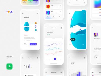 Yolk - FREE iOS UI Kit freebie clear product design mobile app ui design design system free ui kit free user interface ios simple minimal ui