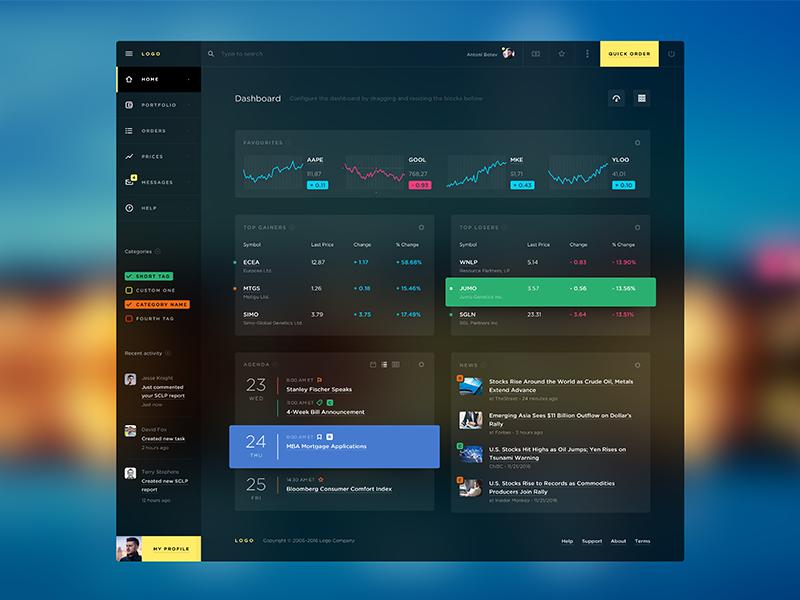 Trading platform for dash