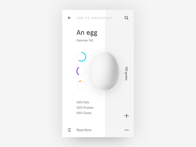 Minimalist Egg Nutrition Data ui freestyle what if ui ios white user interface carbs proteine fats egg nutrition minimalist
