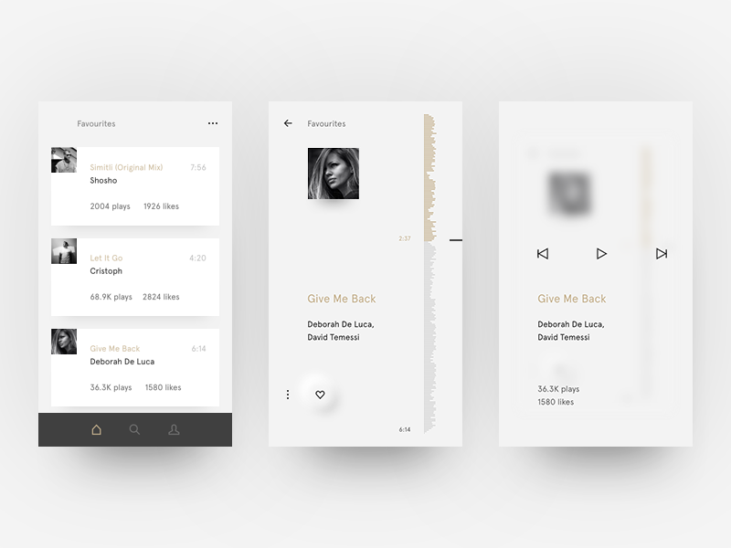 Minimalistic Music Player by Antoni Botev on Dribbble