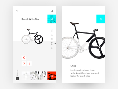 Black & White Fixie what if ui freestyle app minimal ui bike white black simple minimalist clean