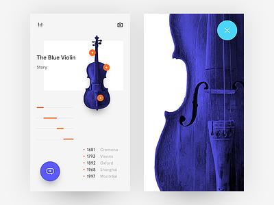 The Blue Violin what if ui freestyle clear simple minimalist purple orange colors bright violin blue