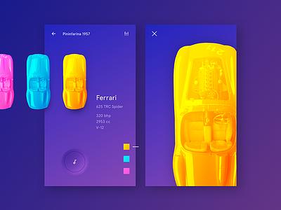 Neon Ferrari ui freestyle what if car vintage sport ferrari neon minimalist clear simple classic bright