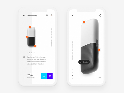 Speaker + Microphone product what if freestyle ui concept twelvemonthly minimalist simple clear mirrored microphone speaker