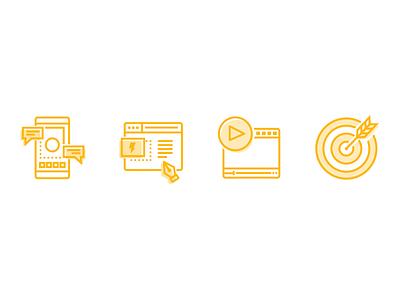 Service Line Icons services animation video production development web design digital marketing pr advertising icons