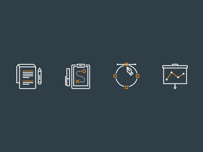 Process Icons analyze design strategize strategy research icons process