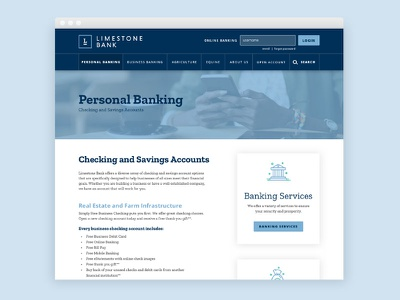 Limestone Bank brand launch website redesign business cards stationery icons credit card banking bank branding rebrand