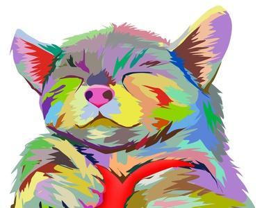 A Colorful Cat With A Heart color cats love heart feline adobe photoshop pet animal cute cute art drawing illustration design colorful cat