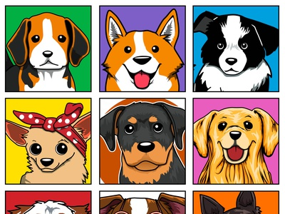 Dog faces dogs dog art drawing cute art adobe photoshop illustration design pet