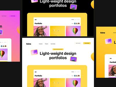Lizine - Design Software Landing Page hero section software landing page minimal hero grid layout grid yellow images yellow graphic design website
