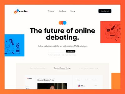 MontoApp: Landing Page Exploration graphic design web design app branding design illustration typography product minimal website