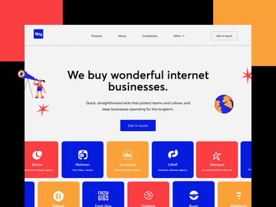 Tiny - Website Redesign redesign exploration concept tiny investing hero section landing webflow tinycapital ayush design typography website