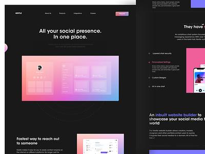 Hestle App Landing Page webflow web design app social media chat graphic design product ayush website