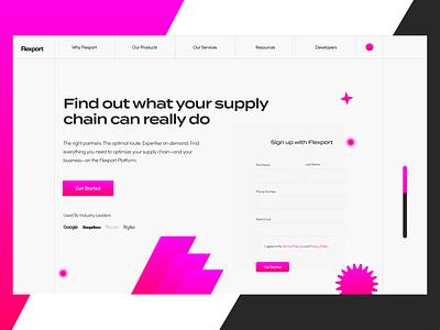 Flexport Website Hero Section website concept website redesign refresh redesign typography exploration concepts inspiration ui style hero section gradients ayush website