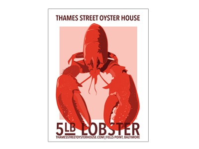 5lb. Lobster lobster vector graphic minimal wpa restaurant advertising poster print baltimore