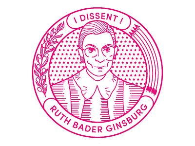 RBG ruth bader ginsburg portrait line art illustration rbg