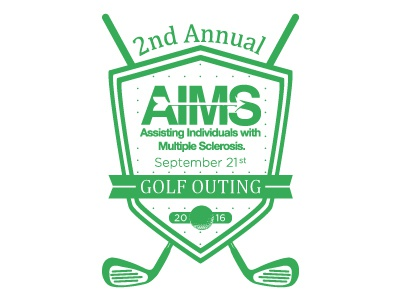 AIMS Golf Event annual outing design shirt charity sclerosis multiple aims green ball club golf