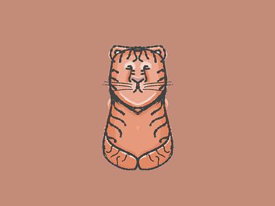 Peaceful Tiger goodvibes meditate peaceful kawaii stripes mammal animal black orange watercolor cute tiger peace