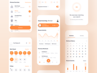 Shape — fitness app 🔥 orange application app interface ios mobile product widelab ui ux timeline fitness gym health training exercise stats statistics workout analytics