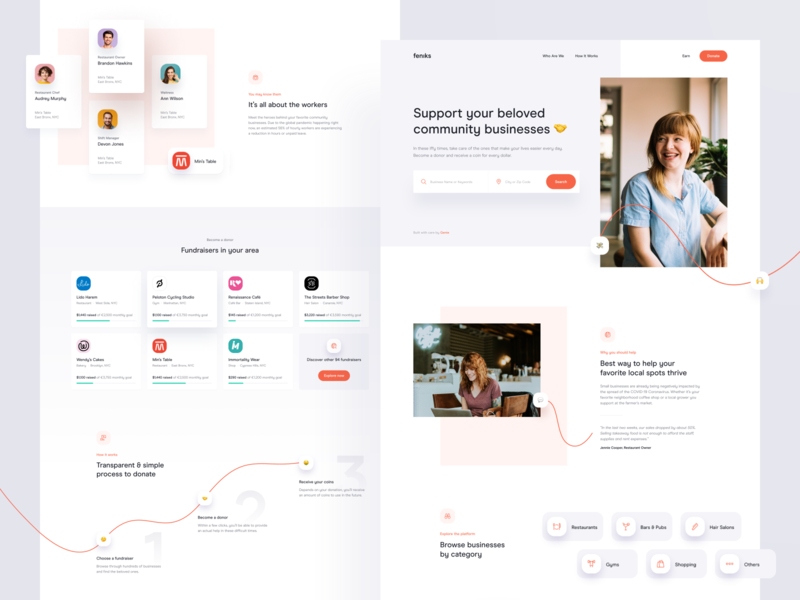 Feniks — Homepage 🤝 crowdfunding interface photography homepage product covid-19 coronavirus corona fundraise fundraising widelab website web ux ui emoji layout landing page simple clean