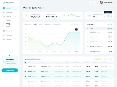 Tradedoubler — SMB Platform 📊 widelab web ux ui saas simple network minimal marketing layout interface graph data dashboard clean cards application app analytics affiliate
