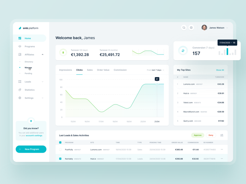 Tradedoubler — SMB Platform 📊 widelab web ux ui saas simple network minimal marketing layout interface graph data dashboard clean cards application app analytics affiliate