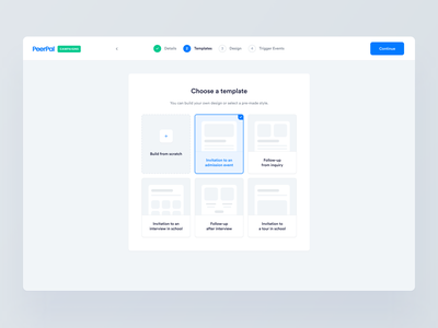 PeerPal — Campaigns 📬 graph campaign editor template trigger app application cards clean dashboard email interface builder minimal simple saas ui ux product widelab