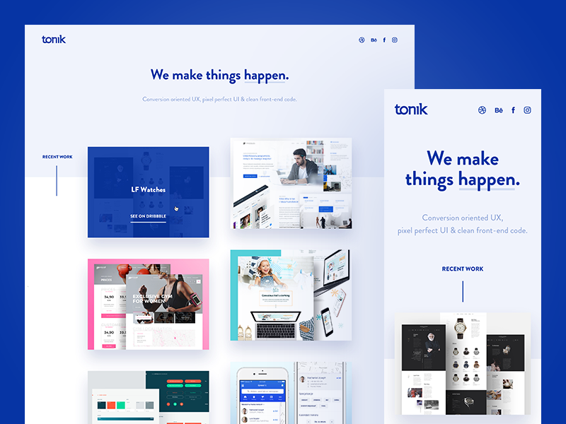Tonik.pl v2.0 ⚡️ minimal light white portfolio clean blue website web ux ui studio agency