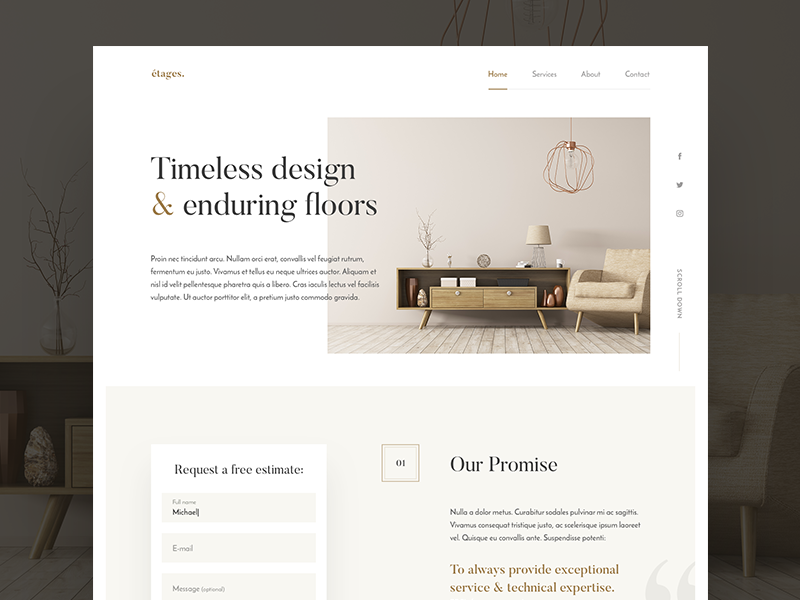 étages. web typography landing white space web design clean minimal elegant gold layout grid