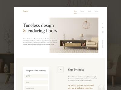 étages. ampersand serif simple wood homepage landing page website ux ui web typography landing white space web design clean minimal elegant gold layout grid
