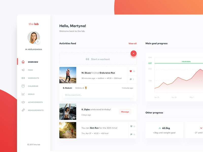 Fitness dashboard — overview 🏃🏻 red analytics clean web app interface charts cards fitness dashboard ux ui