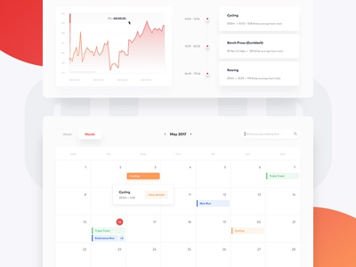 Fitness dashboard — workout & calendar 🏋🏻 stats timeline events statistics health simple product minimal red analytics clean web app interface charts cards fitness dashboard ux ui